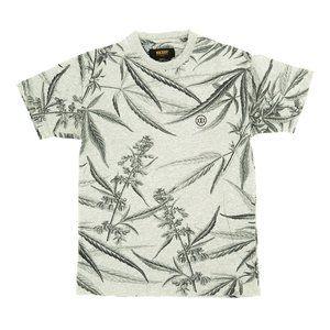 10 Deep Shirt All Over Print Floral Crew Neck Gray